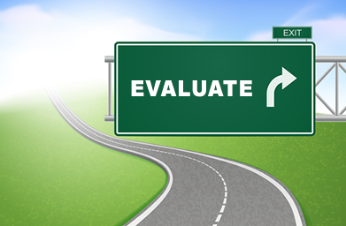 Street sign that says Evaluate the Market