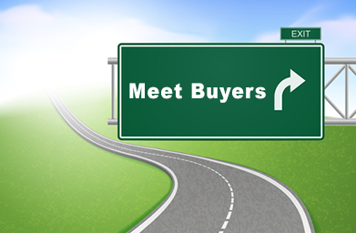 Street sign that says Meet with Buyers