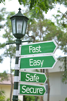 Street sign on lamp post at the intersection of fast, easy, safe and secure
