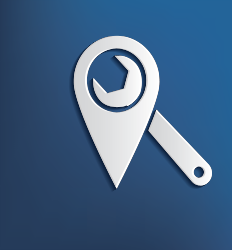 Mechanic's wrench inside a map icon to emphasize a local transaction