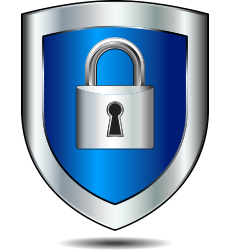 Padlock inside of a shield illustrates a secure process